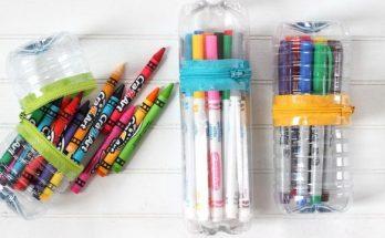 Tempat pensil dari botol plastik bekas