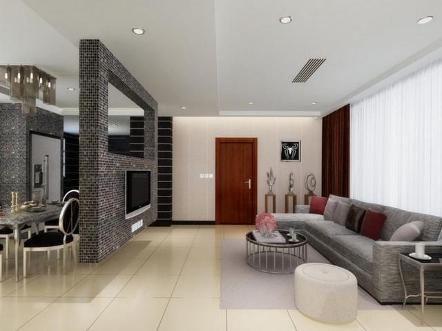 Ruang tamu tempat yang tepat untuk memasang ubin mozaik