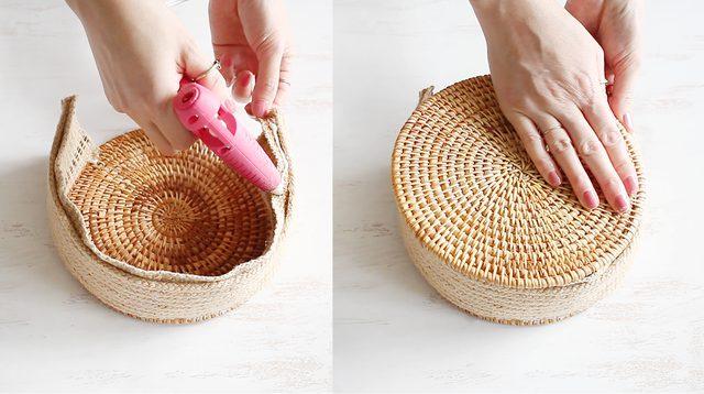 Tempelkan tatakan rotan kedua untuk sisi tas yang lainnya