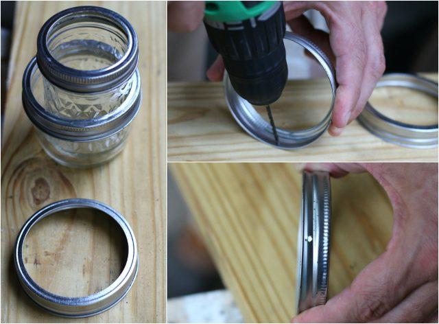 buat 2 lubang kecil dengan posisi berseberangan pada sisi tutup stoples